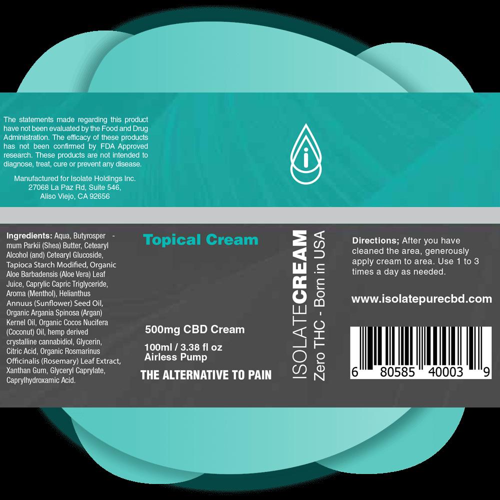 Isolate Pure CBD cream Label 500mg